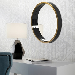 Brando Round Wall Mirror - Black/Gold