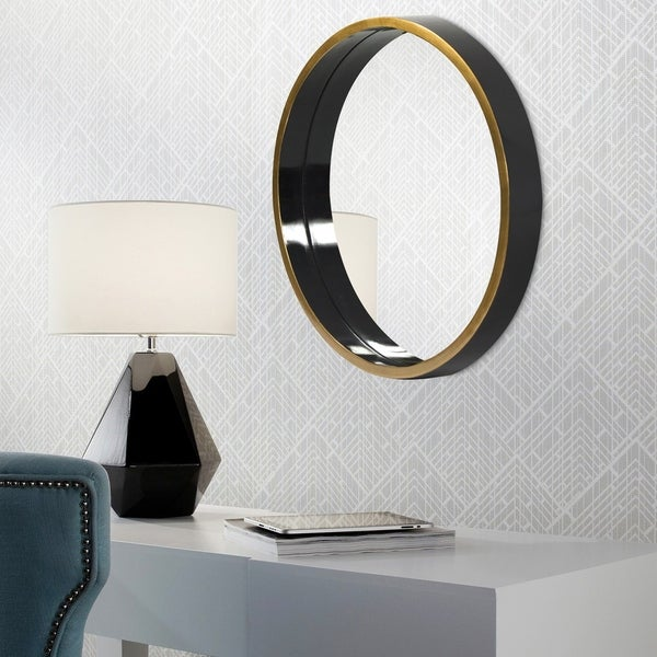 Brando Round Wall Mirror - Black/Gold