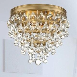 3-light Vibrant Gold Flush Mount Fixture