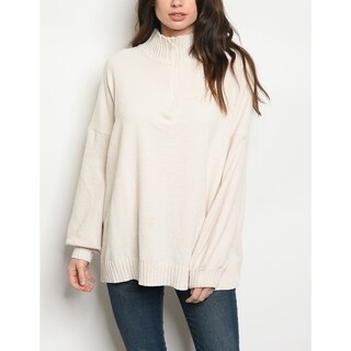 JED Women's Loose Fit Mock Neck Ivory Sweater