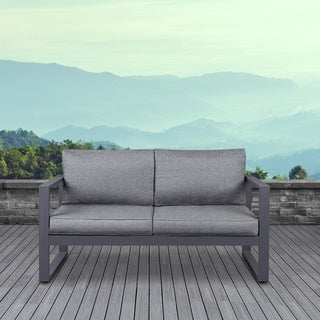 Real Flame Baltic Outdoor Love Seat Gray w/Cushions
