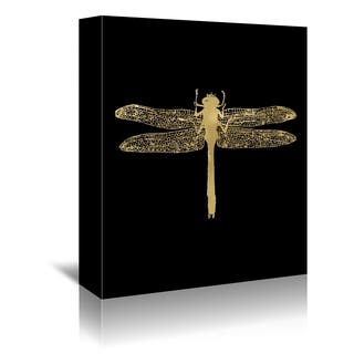 Americanflat 'Dragonfly Gold On Black' Gallery Wrapped Canvas