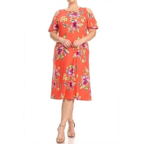 Women's Plus Size Floral Pattern Ruffled Sleeve Dress