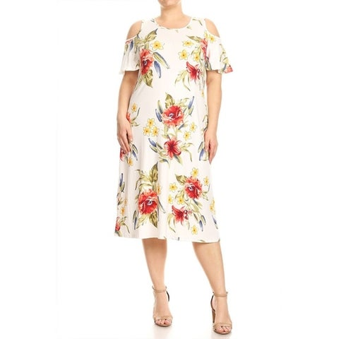 Women's Plus Size Floral Pattern Ruffled Sleeve Dress
