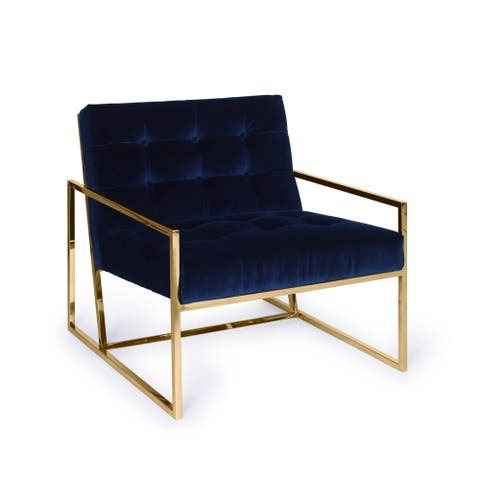 "Pasargad Home Firenze Collection Velvet Loungechair, Navy - W28""xD31.1/2""xH29"""