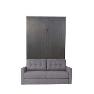 Queen Andrew Sofa-Murphy Bed in Metro Gray Finish and Heather Tweed Fabric