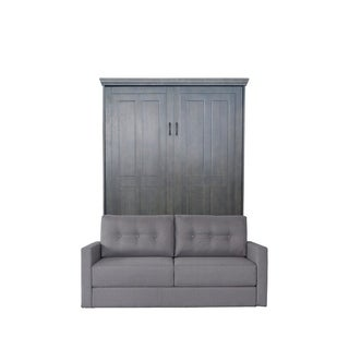 Queen Devonshire Sofa-Murphy Bed in Dove Wash Finish and Heather Tweed Fabric