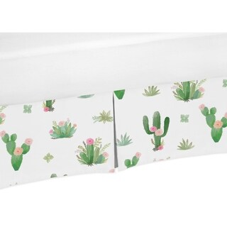 Sweet Jojo Designs Pink and Green Cactus Floral Boho Watercolor Collection Toddler Bed Skirt