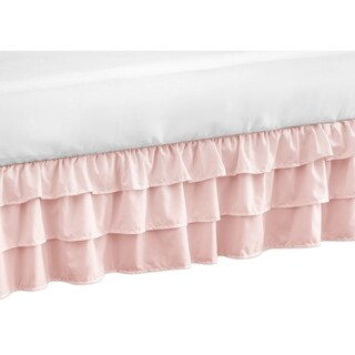 Sweet Jojo Designs Solid Color Blush Pink Shabby Chic Harper Girl Collection Crib Bed Skirt