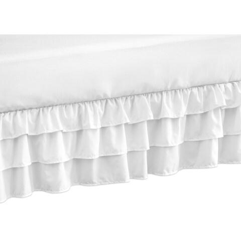 Sweet Jojo Designs Solid Color White Shabby Chic Harper Girl Collection Crib Bed Skirt