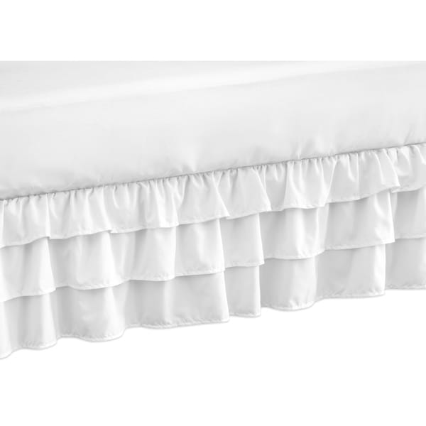 Sweet Jojo Designs Solid Color White Shabby Chic Harper Girl Collection Crib Bed Skirt