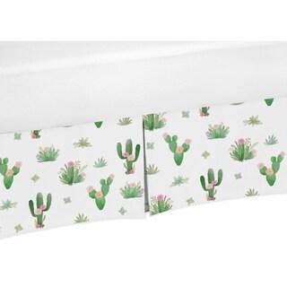 Sweet Jojo Designs Pink Green Boho Watercolor Cactus Floral Girl Collection Crib Bed Skirt