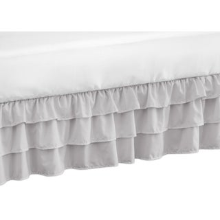 Sweet Jojo Designs Solid Color Grey Shabby Chic Harper Girl Collection Crib Bed Skirt