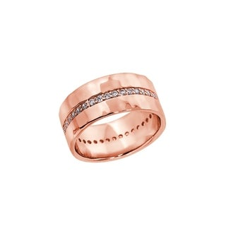 Eternally Haute 14K Rose Gold plated Pave Hammered Cigar Ring