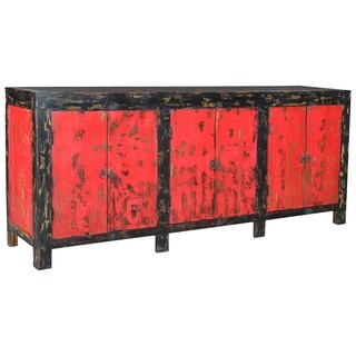 Auro Distressed Red Wood 6 Door Sideboard