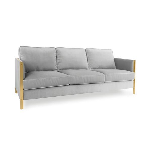 Firenze Collection Velvet Silver Sofa
