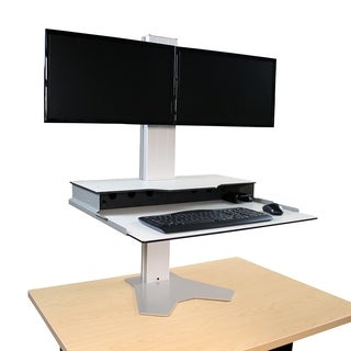 "RightAngle Hover Helium Sit To Stand Desk Monitor Riser, 24""x28"", Dual Monitor"