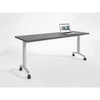 RightAngle Flip Training Table with Casters, 24 x 60 inches, Silver Base- Driftwood Top