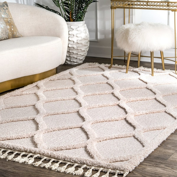 Nuloom Plush High Low Trellis Kids Tel Gy Ivory Area Rug 5 3