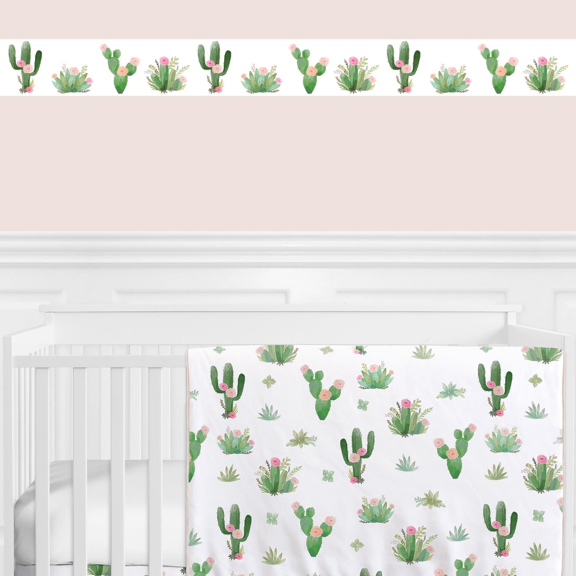 Shop Sweet Jojo Designs Pink And Green Boho Watercolor Cactus