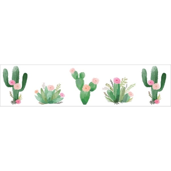 Sweet Jojo Designs Pink and Green Boho Watercolor Cactus Floral Collection Wallpaper Wall Border