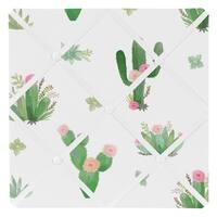 Sweet Jojo Designs Pink Green Boho Watercolor Cactus Floral Collection 13-inch Fabric Memory Photo Bulletin Board