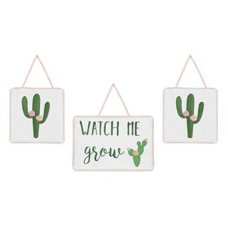 Sweet Jojo Designs Pink and Green Boho Watercolor Cactus Floral Collection Wall Hangings (Set of 3)