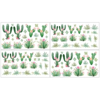 Sweet Jojo Designs Pink Green Boho Watercolor Cactus Floral Peel and Stick Wall Decal Stickers Art Nursery Decor (Set of 4)