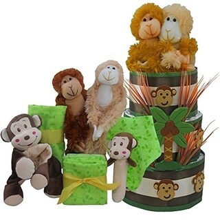 My Little Monkey New Baby Diaper Cake Gift Tower Nuetral for Boys, Girls or Twins