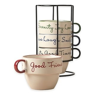 Ceramic 5 Pcs. Stacking Coffee Jombo Mug Set With Rack Stand Mugs With Stand - Sentiment