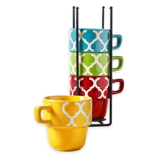 Ceramic 5 Pcs Stacking Coffee Mug Set With Rack Mugs With Stand Tile