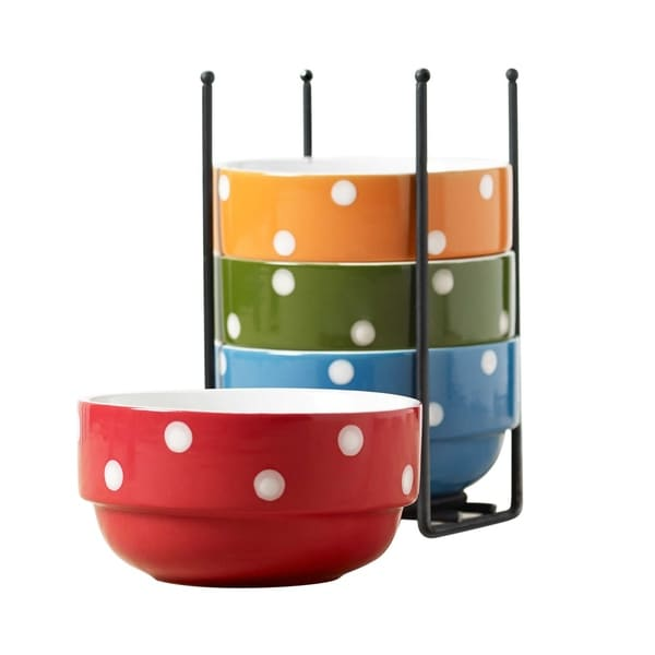 Ceramic 5 Pcs  Stacking Cereal Soup Salad Bowl With Rack Bowls with Stand -  Dots