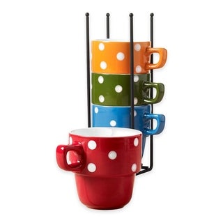 Ceramic 5 Pcs. Stacking Coffee Mug Set With Rack Mugs With Stand - Dots
