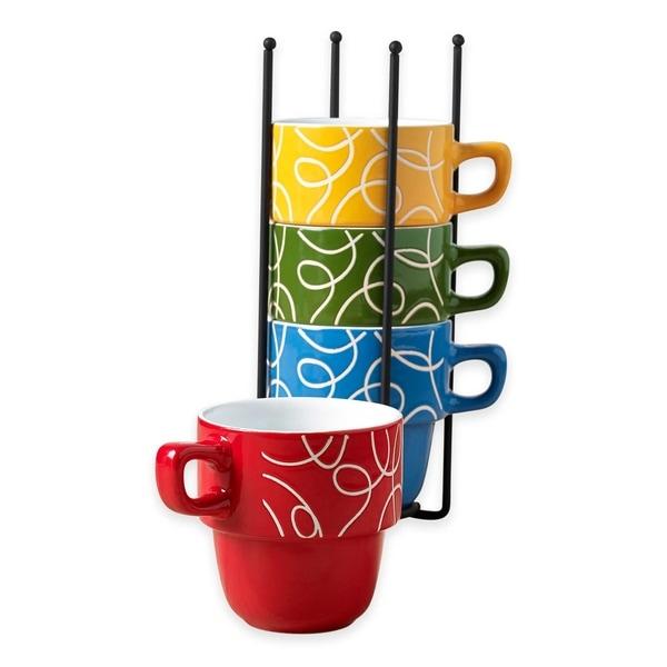 Ceramic 5 Pcs Stacking Coffee Mug Set With Rack Mugs Stand Esto