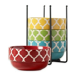 Ceramic 5 Pcs. Stacking Cereal Soup Salad Bowl With Rack Stand - Tile