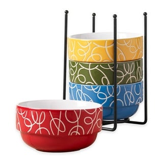 Ceramic 5 Pcs. Stacking Cereal Soup Salad Bowl With Rack Bowls With Stand - Esto