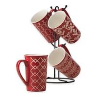 Ceramic 5 pcs. 16 Oz. Coffee Latte Mug Set With Metal Tree Stand Rack RED