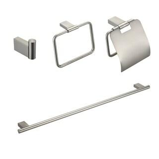 Maykke Benidorm 4-Piece Bathroom Hardware Set with 24 Inch Towel Bar, Brushed Nickel