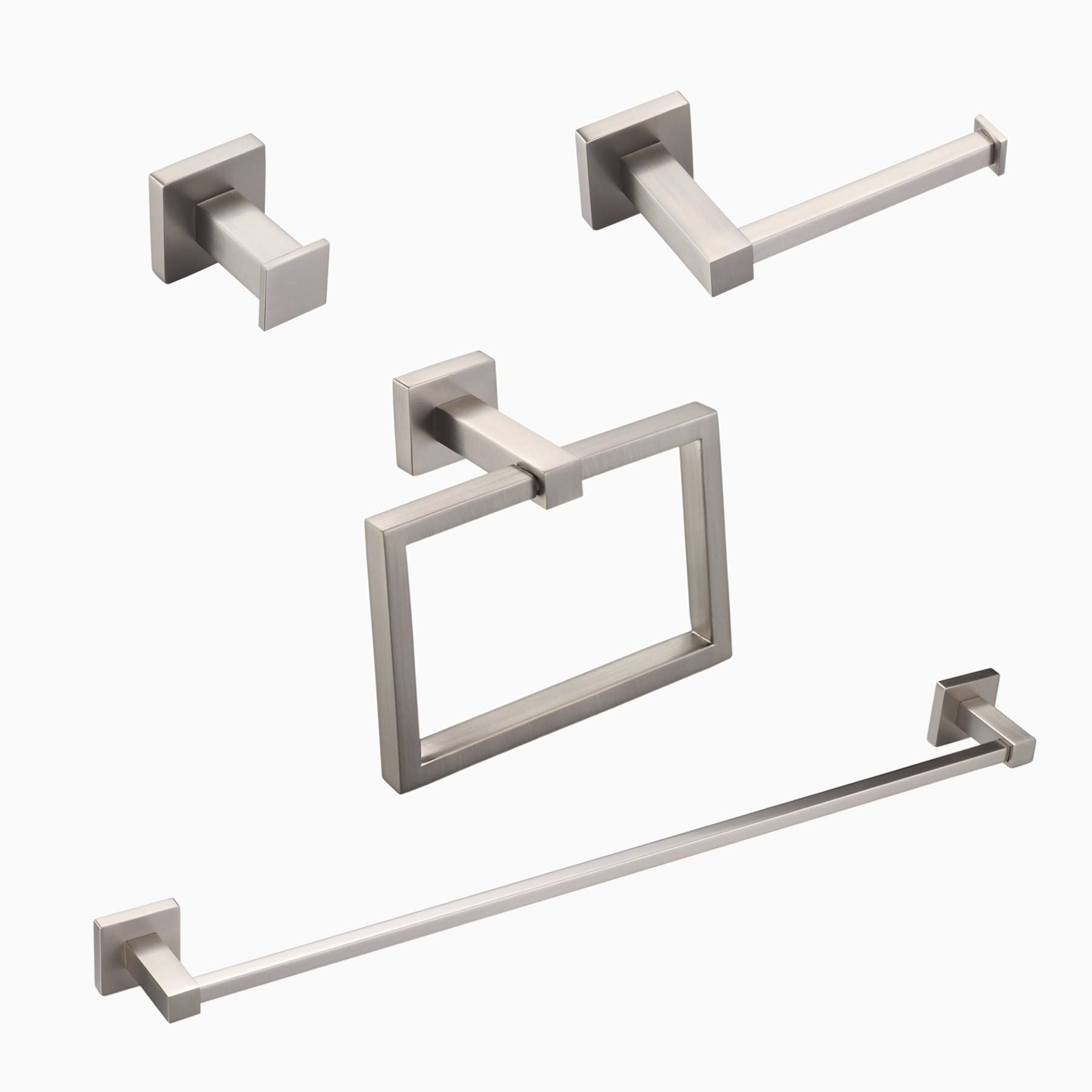 "Brushed Nickel Bathroom Hardware Accessories 4 Piece Set with 24/"" Towel Bar"