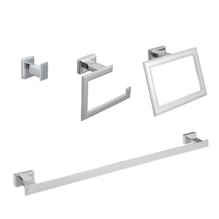 Maykke Carraway 4-Piece Bathroom Hardware Set with 24 Inch Towel Bar, Polished Chrome