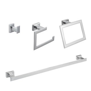 Maykke Carraway 4-Piece Bathroom Hardware Set with 24 Inch Towel Bar, Polished Chrome