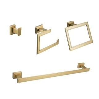 Maykke Carraway 4-Piece Bathroom Hardware Set with 18 Inch Towel Bar, Brushed Brass
