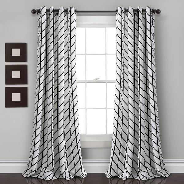 Beautiful Modern White Grey White Chevron Stripe Darken Window