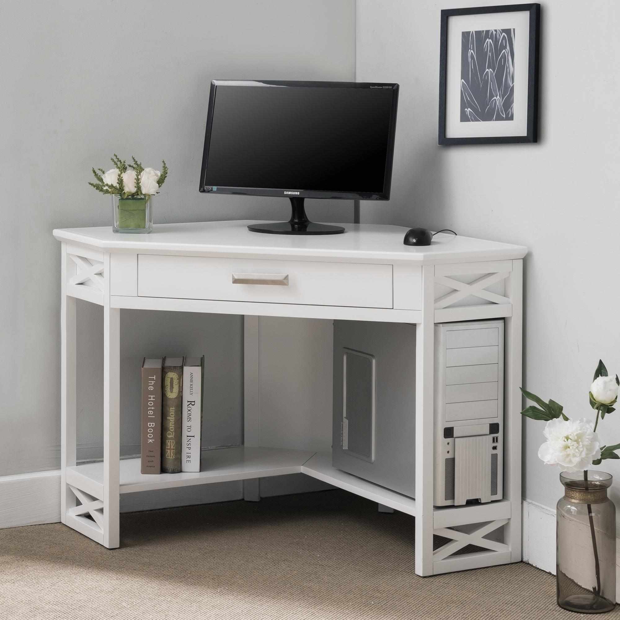 Shop Black Friday Deals On White Wood Corner Computer Writing Desk Overstock 20553181
