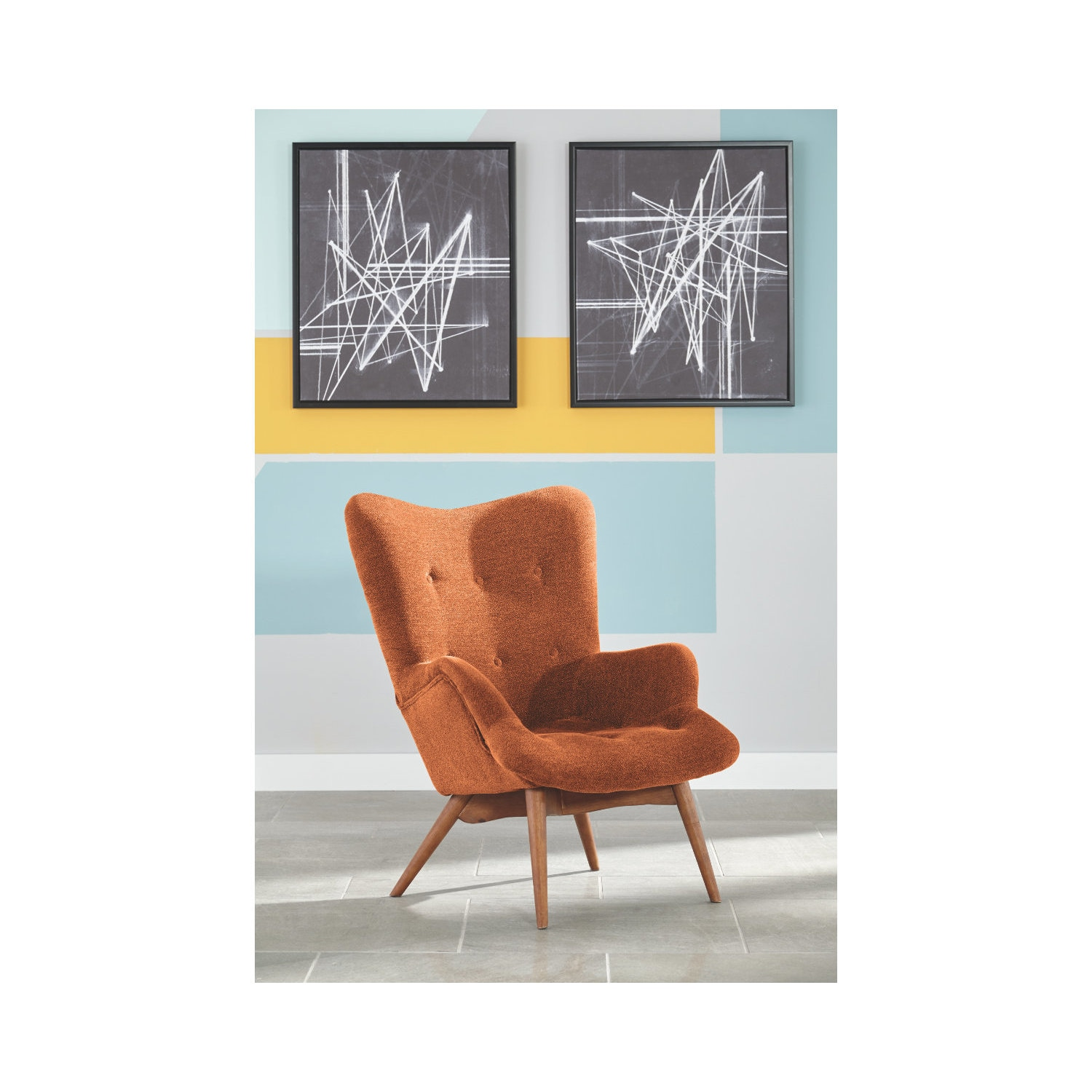 Phenomenal Pelsor Orange Accent Chair Pabps2019 Chair Design Images Pabps2019Com