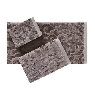 Five Queens Court Sarah Pearl Velour Chenille Damask Bath Towel