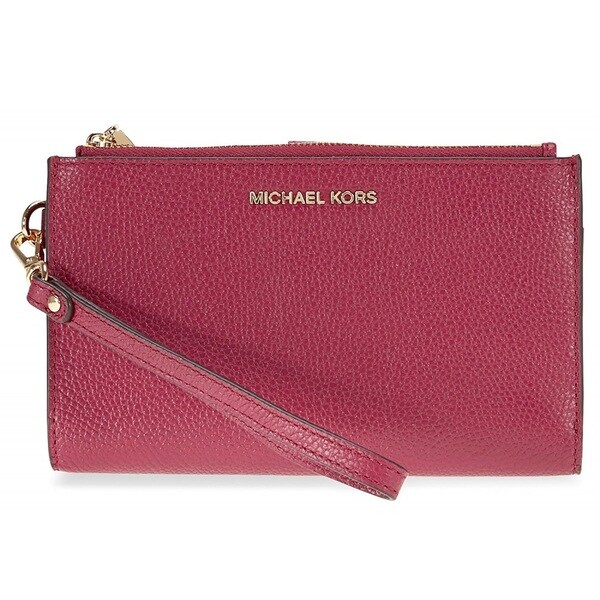 16a6439c2135 Shop Michael Kors Adele Mulberry Leather Double Zip Wristlet - Free ...