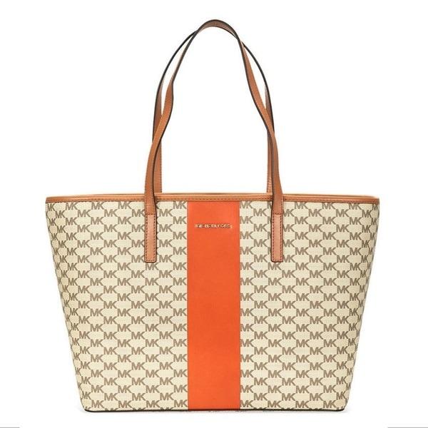 7c1080b5a453 Michael Kors Center Stripe Emry Signature Large Brown/Orange Tote Bag