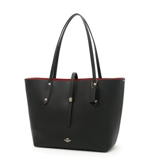 COACH Polished Pebbled Black/True Red Leather Market Tote Bag