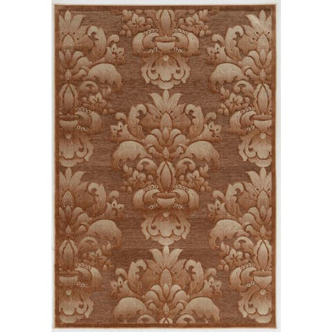 Structure Medallions in Brown Area Rug